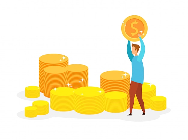 Millionaire, lottery winner vector illustration