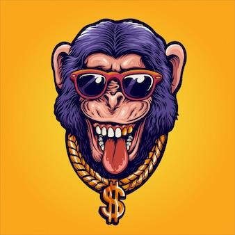 Millionaire monkey illustration