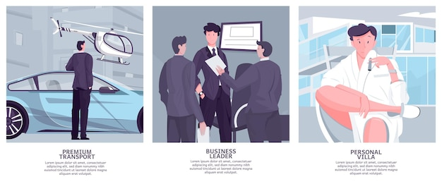 Millionaire rich people set of flat illustrations with human characters of business leaders