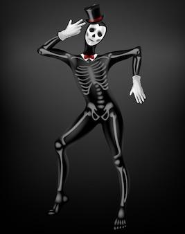 Mime в смерти или покойного узкого костюма с костями скелета, черепа рисунок на черной ткани, цилиндр, белые перчатки 3d реалистичные вектор. празднование хэллоуина, мексиканский фестиваль костюмов day of dead