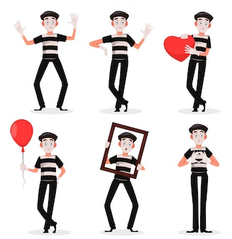 Mime cartoon character performing pantomime set