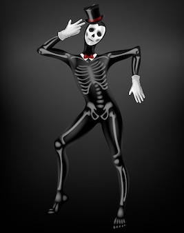 Mime in death or deceased tight suit with skeleton bones, skull drawing on black fabric, top hat, white gloves 3d realistic vector. halloween party, mexican day of dead festival costume illustration