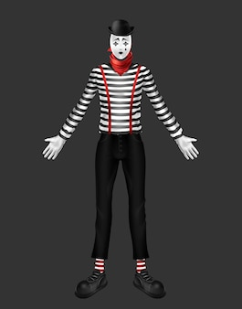 Mime, theater actor, body motion performer costume with striped turtleneck