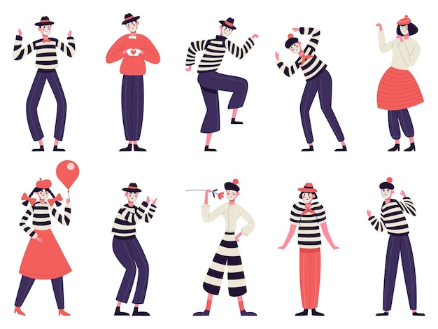Mimes characters. silent actors pantomime and comedy performing funny mimic poses male and female mimes characters illustration set
