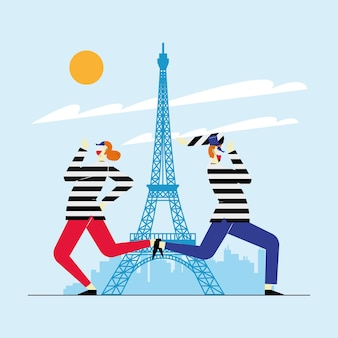 Mimes couple characters in paris