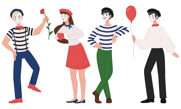 Mimes man and woman pantomime illustration