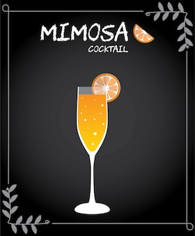 Mimosa cocktail illustration vector