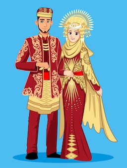 Minangkabau bride in maroon clothes.