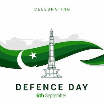 抽象的な緑の線の背景を持つパキスタン防衛の日minarepakistan