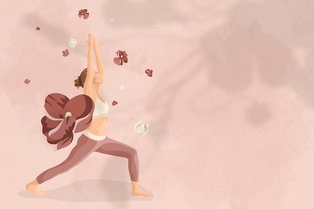 Vettore di sfondo del corpo e della mente con l'illustrazione floreale della donna di yoga