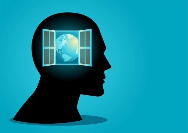 지식을 상징하는 마음 개념 열린 창