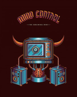 Mind controlled by the media vector illustration concept