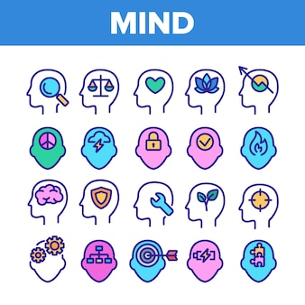 Mind elements sign icons set