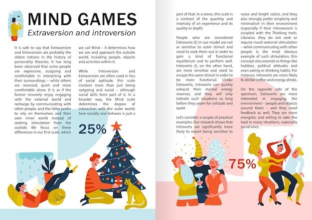 Giochi mentali estroversione e introversione infografiche, pagine di libri con comportamenti di persone durante il tempo libero