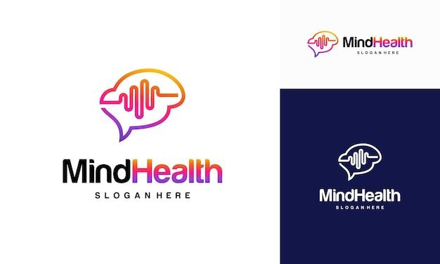 마음 건강 로고 디자인 개념, 머리 건강 로고 템플릿 벡터, 인텔리전스 로고 디자인