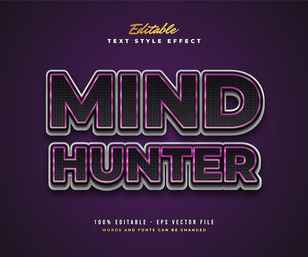 Mind hunter text style in black, purple and white with texture effect. editable text style effect