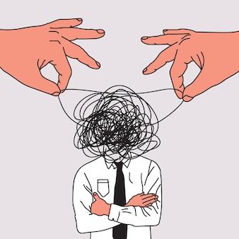 꼭두각시 마스터 손으로 마음 조작 개념은 사업가의 생각을 혼동하거나 조작