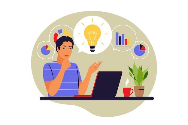 Концепция интеллект-карты. генерация бизнес-идей. план развития. процесс мозгового штурма. векторная иллюстрация. плоский.