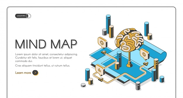 Mind map isometric landing page