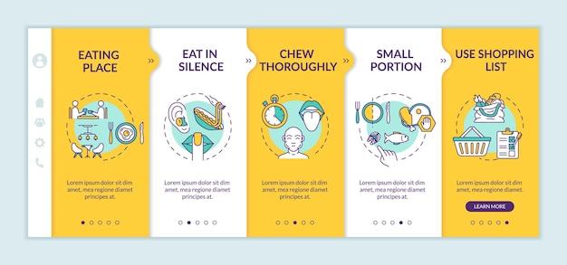 신중한 영양 습관 온보딩 벡터 템플릿입니다. 식사 장소 변경 및 쇼핑 목록. 아이콘이 있는 반응형 모바일 웹사이트입니다. 웹페이지 연습 단계 화면. rgb 색상 개념
