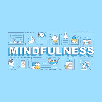 Mindfulness, conscious eating word concepts banner. healthcare, mindful nutrition. infographics with linear icons on blue background. isolated typography. vector outline rgb color illustration