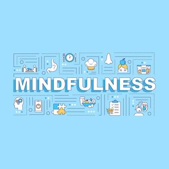 マインドフルネス、意識的な食事の言葉の概念のバナー。ヘルスケア、注意深い栄養。青い背景に線形アイコンとインフォグラフィック。孤立したタイポグラフィ。ベクトルアウトラインrgbカラーイラスト