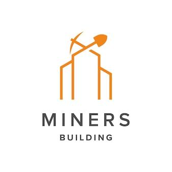 Символы шахты и здания обрисовывают в общих чертах простой гладкий креативный геометрический современный дизайн логотипа