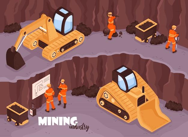 掘削機とテキストのイラストで均一なオープン鉱山の風景の労働者のキャラクターと鉱山業界の背景