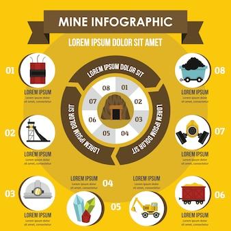 Mine infographic concept.