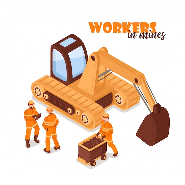 Mine isometric background with image of yellow excavator and miner characters in uniform on blank background  illustration