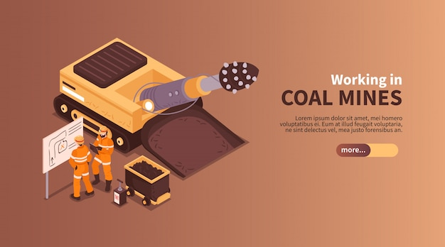 Mine isometric banner composition with slider more button editable text and human characters of coal miners  illustration