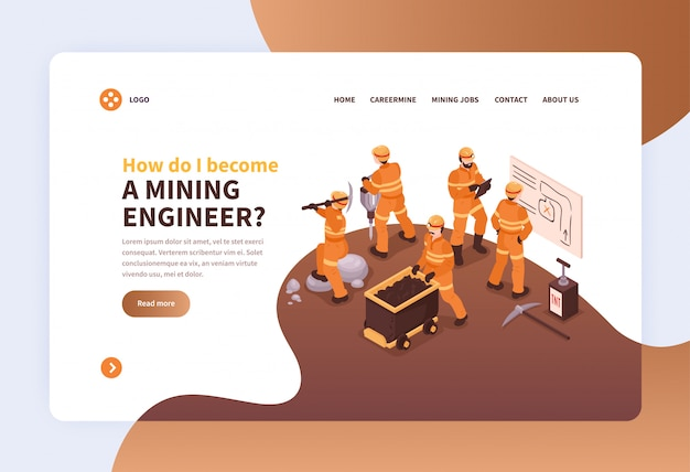 Концепция дизайна веб-страницы «посадка на шахте» с изображениями шахтеров в униформе и интерактивными ссылками.