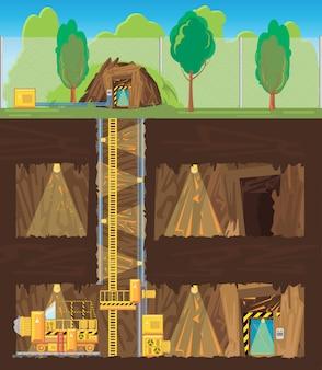 多くのレベルと電化製品を備えた鉱山。