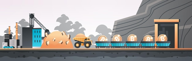 Minecart on rails with bitcoins blockchain cryptocurrency mining concept industrial panorama manufacturing landscape horizontal vector illustration