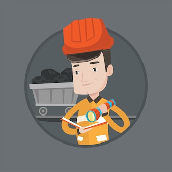 Miner checking documents vector illustration.