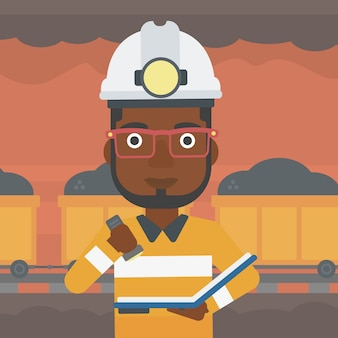 Miner checking documents vector illustration.
