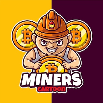 Miner crypto mascot character logo template