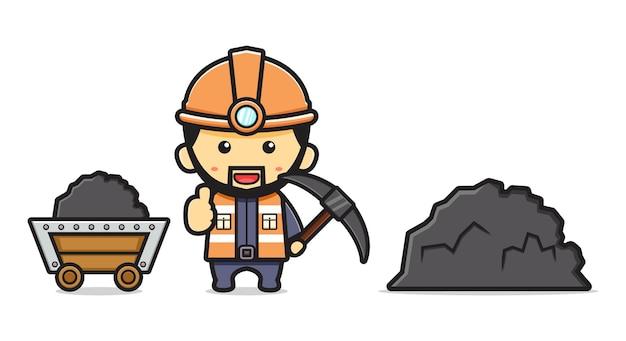 鉱山労働者掘る鉱山漫画アイコンベクトルイラスト。孤立したフラット漫画スタイルをデザインする