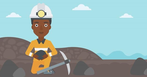Miner holding coal in hands vector illustration.
