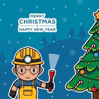 クリスマスの日の鉱夫