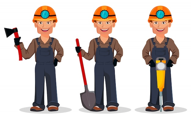 Miner man, mining worker, set