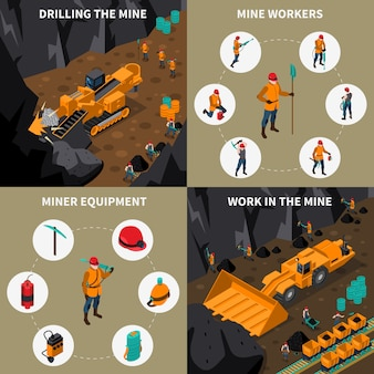 Miner people 2x2 isometric icons set