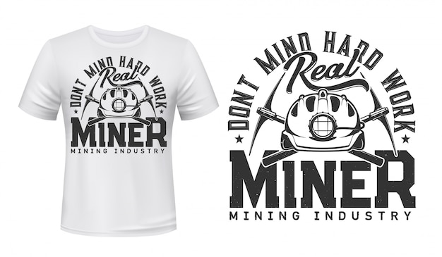 Miner t-shirt print mockup, coal mining industry