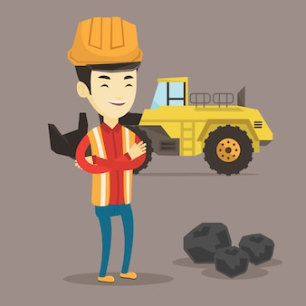 Miner with a big excavator on background.