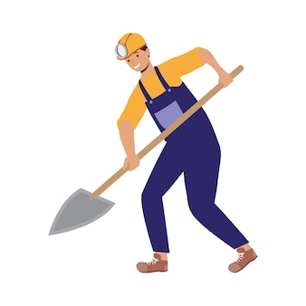 Miner with shovel worker character