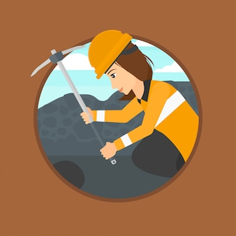 Miner working with pickaxe.