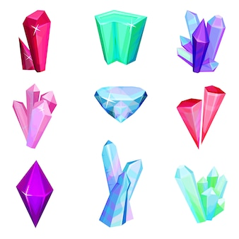 Mineral crystalic precious stones set, colorful crystal gems  illustration on a white background