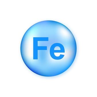 미네랄 fe ferum 블루 빛나는 알 약 캡슐 흰색 배경에 고립.