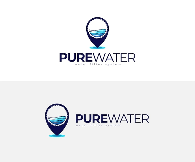 Mineral pure water and pin logo design template