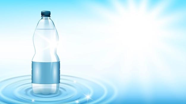 Бутылка минеральной воды свежий напиток копией пространства вектор